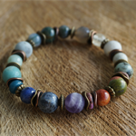 """Boho """"Northern Lights"""" Hippie Gypsy Indie Colourful Psychedelic Stretch Bracelet"""