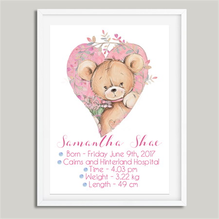 'Teddy Bear' Personalised Birth Stat Print