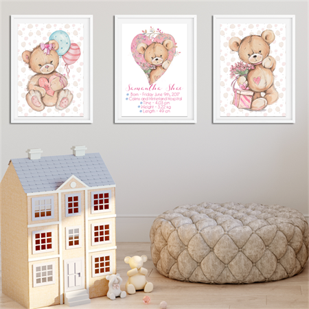 'TEDDY BEAR' Personalised Birth Stat Print and matching art prints. SET OF 3