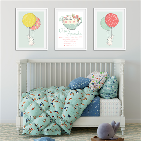 'Teacup Bunny' Personalised Birth Stat Print and matching art prints. SET OF 3