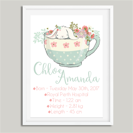 'Teacup Bunny' Personalised Birth Stat Print