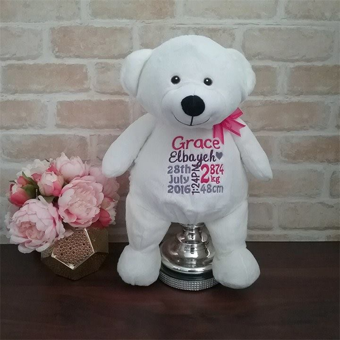 Personalised teddy baby announcement baby gift personalised personalised teddy baby announcement baby gift personalised baby teddy bear negle Images