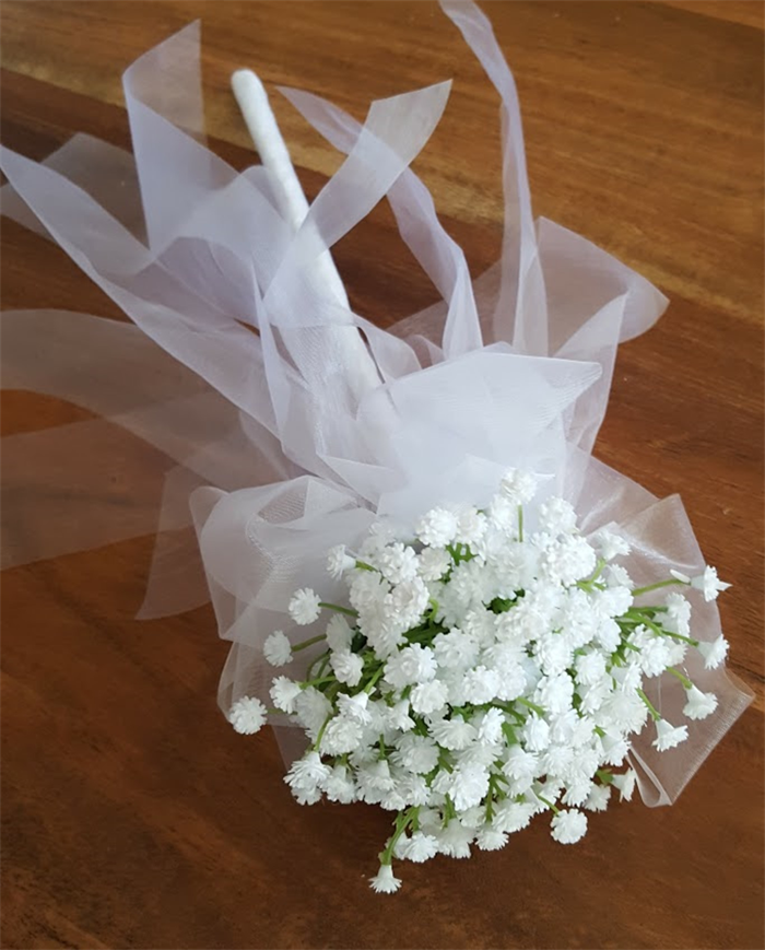 Flower Girl Floral Wand - White Baby\'s Breath Flower Wand for Flower ...