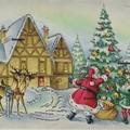 Christmas Image - Printable PDF File - Vintage Santa Deer Tree Cardmaking Craft