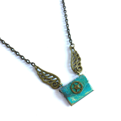 CLOSING DOWN SALE Steampunk Envelope Love Turquoise Patina Locket Necklace