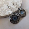 Antique Silver with Blue Diamonte Charm Earrings with Nickel free hooks
