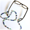 Glasses holder or necklace - Millefiori and crystals in turquoise, blue and pink