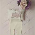 Newborn Overalls / Newborn Photography Prop / Stretch Fabric / Ivory and Pink