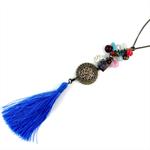 Sky Blue Tassel and Semi Precious Steampunk Necklace