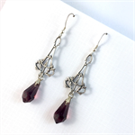 Silver Filagree Earrings with  Purple Crystals