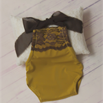 Newborn Stretch Romper / Ready To Post / Mustard and Chocolate / Baby Girl