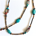 Glasses holder or necklace - turquoise and wood