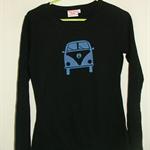 Womens kombi van and other designs long sleeve screen printed tshirt