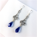 Silver Filagree Earrings with Blue Crystals