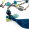 Teal, Turquoise and Yellow Semi Precious Beaded Tassel Necklace