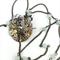 Steampunk Bird Pendant on long chain with pale green semi precious stones