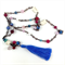 Sky Blue, Rose and Fuschia Semi Precious Beaded Necklace with removable Tassel