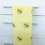 Tea Towel - Border Collie Dog Breed in Yellow and White (custom design)