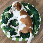 Round Dog Bed Cover - 'Tommy' design in Green and White tropical print (medium)
