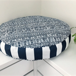 Round Dog Bed with insert  - 'Skipper' design in Navy and White print  (SMALL)
