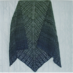 Lacy Shawl Pure Merino Wool Womans Gradient Colour Green to Blue