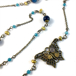 Steampunk Butterfly Pendant with semi precious stones and pearls on bronze chain