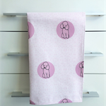 Tea Towel - Poodle Dog Breed in Pink and White (custom design)