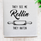 'See Me Rollin' Linen Tea Towel in Off White