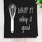 'Whip it Good' Linen Tea Towel in Black
