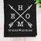 Personalised 'Home' Linen Tea Towel in Black