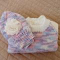 SIZE 1-2 - Hand knitted jumper & beanie: cream & multi colour, machine washable