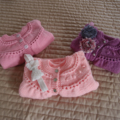 SIZE 1-2 years - knitted cardigan in multi colour & co-ordinated headband, girl