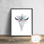 Cow Skull Blue Florals - Wall Art Print