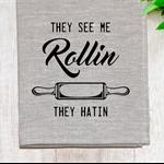 'See Me Rollin' Linen Tea Towel in Oatmeal