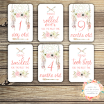 Baby Milestone Cards - Floral Dreamcatcher - Girl