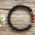 Black Onyx Gemstone & Natural Red Earth Jasper Bead Bracelet