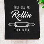 'See Me Rollin' Linen Tea Towel in Black