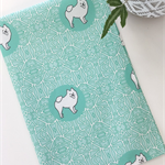Tea Towel - Pomeranian Dog Breed in Aqua and White (custom design)