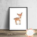 Deer Flower Crown - Nursery - Wall Art Print
