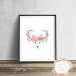 Boho Deer Skull Floral - Wall Art Print