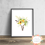 Cow Skull Sunflowers - Wall Art Print