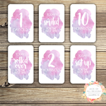 Baby Milestone Cards - Pink Watercolour - Girl