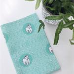 Tea Towel - Silk Terrier Dog Breed in Aqua and White (custom design)