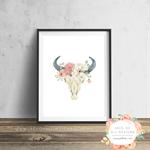Cow Skull Floral - Wall Art Print