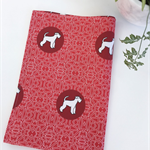 Tea Towel - Schnauzer Dog Breed in Red and White (custom design)