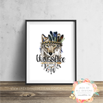 Tribal Wolf - Brave and Free - Wall Art Print