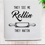 'See Me Rollin' Linen Tea Towel in Off White