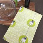 Tea Towel - Pug Dog Breed in Green and White (custom design)
