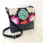 Cross Body Bag in Floral Echino Fabric and Black Marine Vinyl