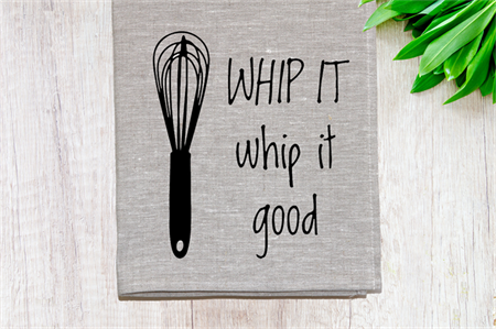 'Whip it Good' Linen Tea Towel in Oatmeal
